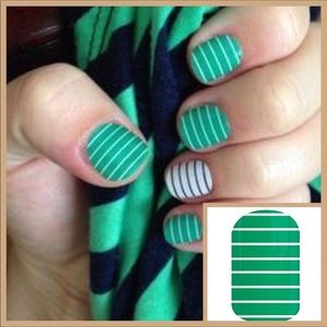 Jamberry Nail Wrap arcade green white strip Rare